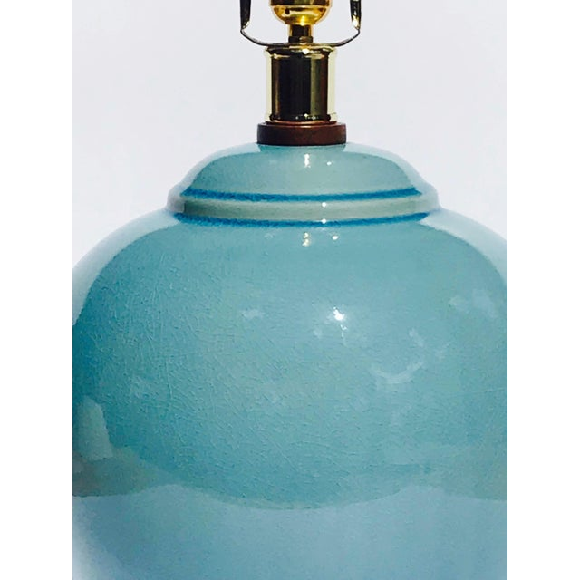 Pair of Vintage Ralph Lauren Chinese Pottery Lamps in Robin's Egg Blue For Sale - Image 9 of 13