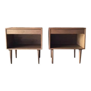 Custom Mid Century Style Extra Large Nightstands - a Pair For Sale