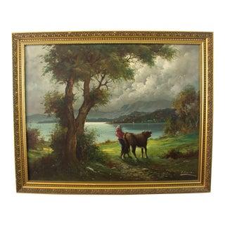 P. Raucci Original Signed European Landscape Oil Painting. Vintage Mid-Century For Sale