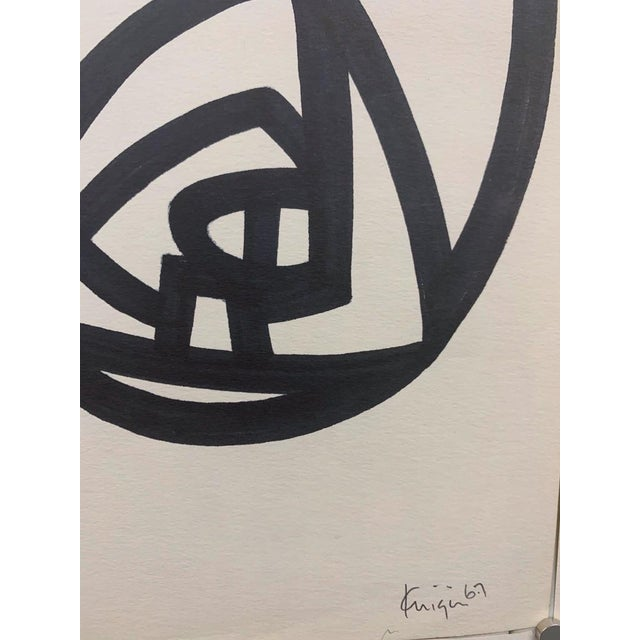 """Abstract 1967 Ink Brush """"Abstract 1"""" Drawing Whitney Museum Artist Original Art For Sale - Image 3 of 6"""