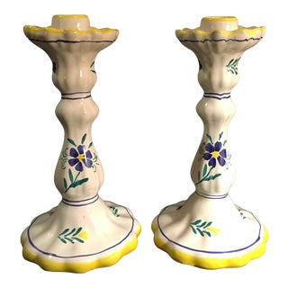 Shafford Italy Strata Group Lorient Hand Painted Candle Sticks - a Pair For Sale