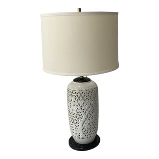 Early 20th Century Reticulated White Ginger Jar Lamp Wood Base and Cap Cherry Blossom For Sale