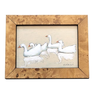 """Original Contemporary Stephen Heigh """"4 Geese """" Illustration Painting For Sale"""