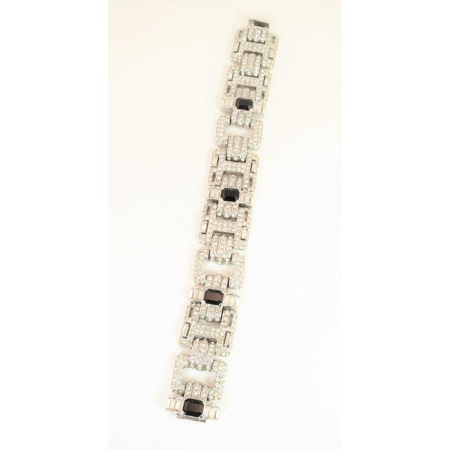 Ciner Ciner Art Deco-Style Geometric Link Rhodium Bracelet 1950s For Sale - Image 4 of 13