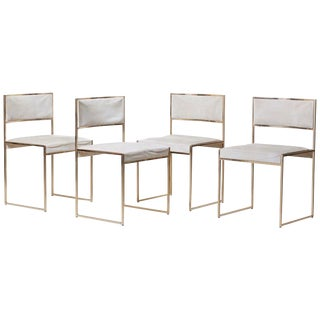 Set of Four Brass Dining Chairs by Willy Rizzo For Sale