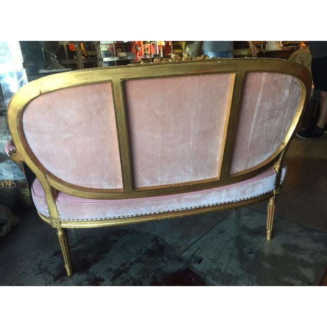 Pink Early 20th Century Antique French Settee For Sale - Image 8 of 11