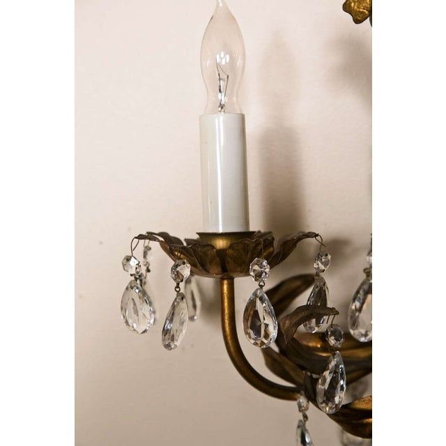 French Gilt-Brass 3-Light Wall Sconces - A Pair For Sale In New York - Image 6 of 8