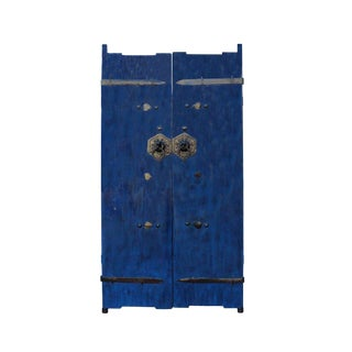 Chinese Dark Blue Gloss Lacquer Vintage Iron Hardware Door Gate Wall Panel For Sale