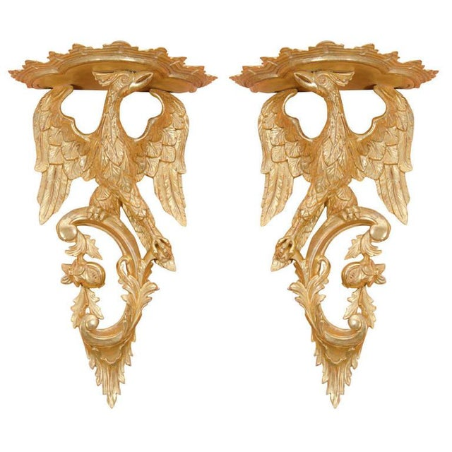 Gold Pair of Rococo Giltwood Phoenix Brackets For Sale - Image 8 of 8