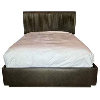 Empiric Zohar Leather Upholstered Queen Bed For Sale