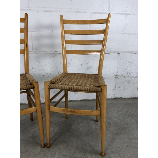 Italian Mid-Century Italian Beech Wood Ladder Back Chairs Gio Ponti Style, Pair For Sale - Image 3 of 10