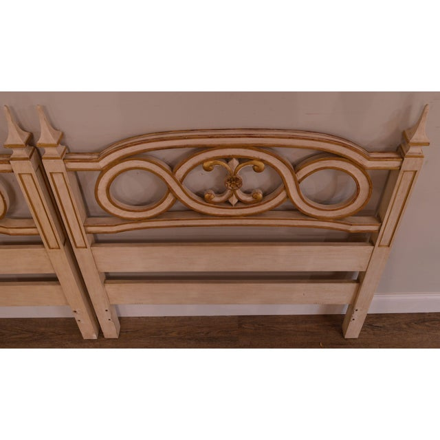 Wood John Widdicomb French Regency Style Off White and Gilt Accent Pair Twin Headboards For Sale - Image 7 of 12