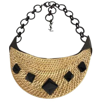 Yves Saint Laurent Wicker Bib Necklace. Huge. Runway Piece. So Dramatic! For Sale