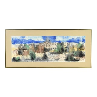 1980 Watercolor Painting Omri Village in Rural Iran Signed For Sale