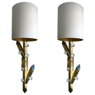 Contemporary Pair of Brass Sconces Plant Murano Glass, Italy For Sale