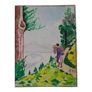 Landscape With Figure by E. Pell-Original Watercolor-Signed For Sale