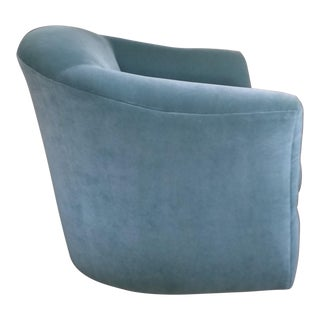 Aqua Velvet Swivel Chair For Sale