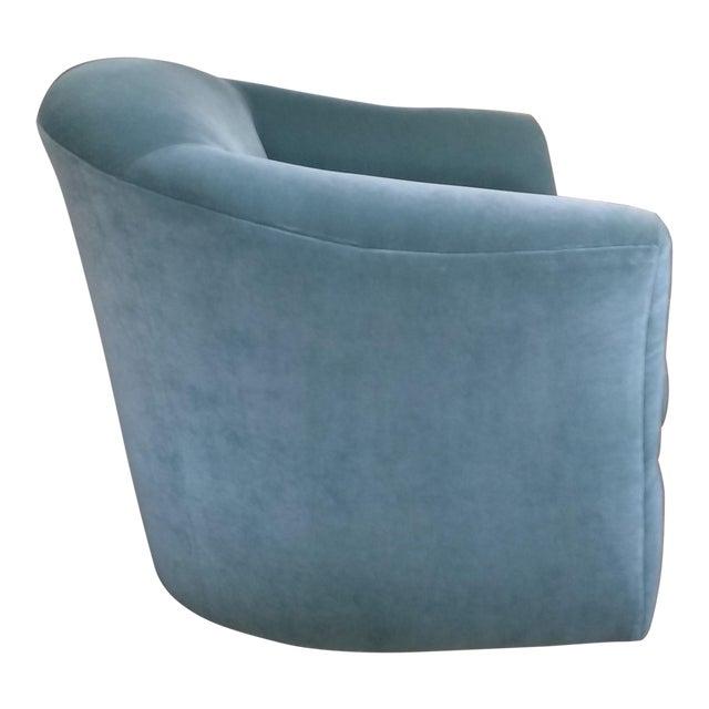 Aqua Velvet Swivel Chair For Sale
