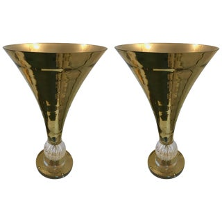 Contemporary Pair of Cone Lamps Gold Murano Glass For Sale