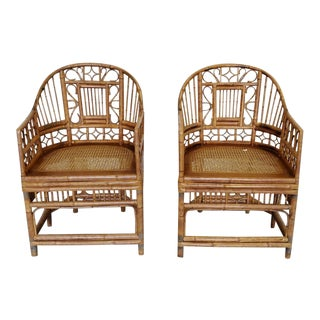Mid Century Chinese Chippendale Bamboo Chairs - a Pair For Sale