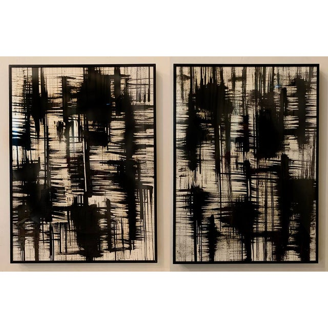 Franz Kline Contemporary Black and White Ink Paintings, Framed - Set of 2 For Sale - Image 4 of 4