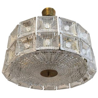 1960s Orrefors Carl Fagerlund Crystal Flush Pendant For Sale