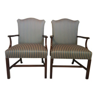 American Classical Hickory Chair Company Martha Washington Striped Upholstery Side Chairs - a Pair For Sale