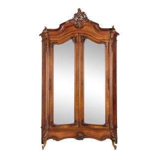 Antique Louis XV Carved Mahogany Armoire W Mirrored Doors For Sale