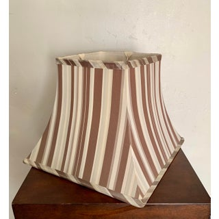 Cream and Brown Striped Silk Small Lampshade With Chrome Hardware- Two Available Preview