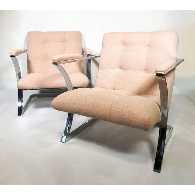 1970s 1970s Vintage Milo Baughman for Carson's Cubist Floating Sling Chairs- A Pair For Sale - Image 5 of 5