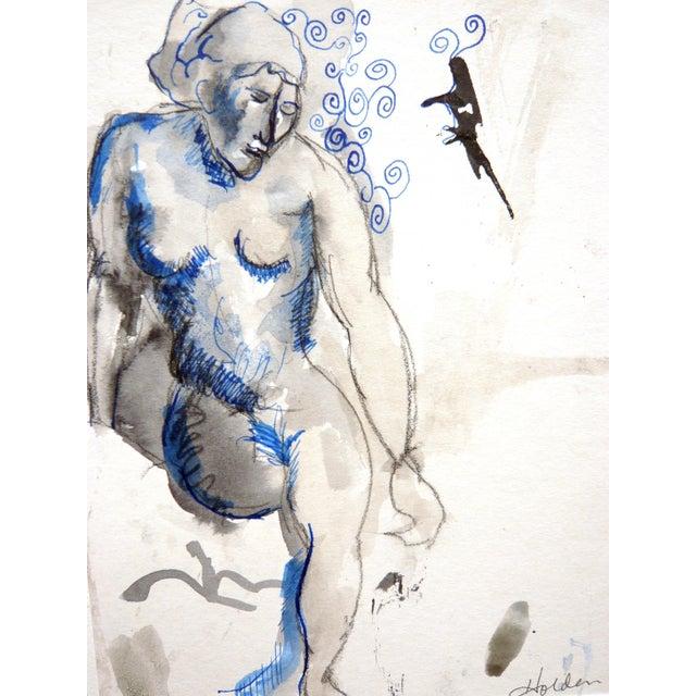 """Blue Nude"" Original Drawing - Image 2 of 4"