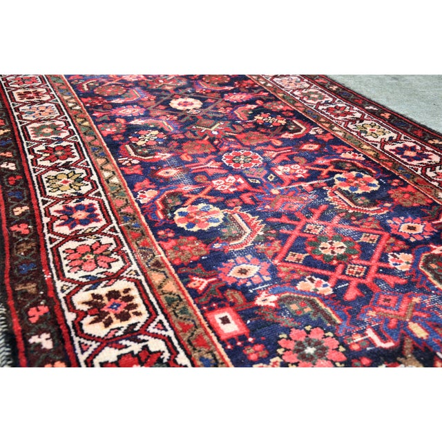 Rose Vintage Mid-Century Floral Persian Hamedan Runner - 3′3″ × 9′7″ For Sale - Image 8 of 11