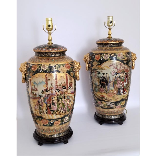 Asian Vintage Contemporary Chinese Export Ceramic Porcelain Lamps - a Pair For Sale - Image 3 of 13