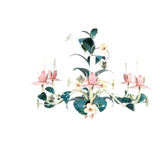 1970s Pink and Green Tole Painted Italian Floral Chandelier For Sale