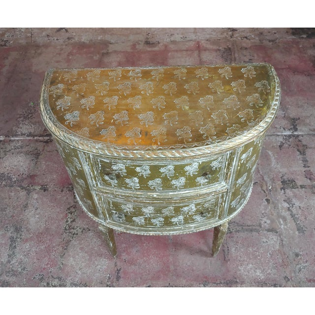 """Antique Italian Florentine Demilune Gilt-wood Commodes - A pair - 1900s. size 26 x 14 x 30"""" A beautiful piece that will..."""