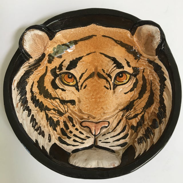 Taste Setter by Sigma Mid-Century Large Tiger Face Pottery Bowl/Catchall - Made in Italy For Sale - Image 4 of 13