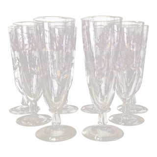 1970s Tall Drinking Glasses with Art Deco Design - Set of 8 For Sale