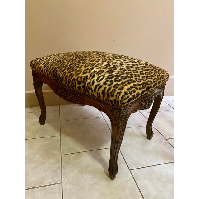 Vintage Leopard Print Ottoman For Sale - Image 4 of 6