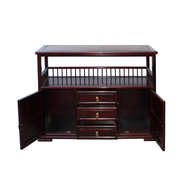 Asian Chinese Brown Rosewood Credenza Console Side Table Cabinet For Sale - Image 3 of 8