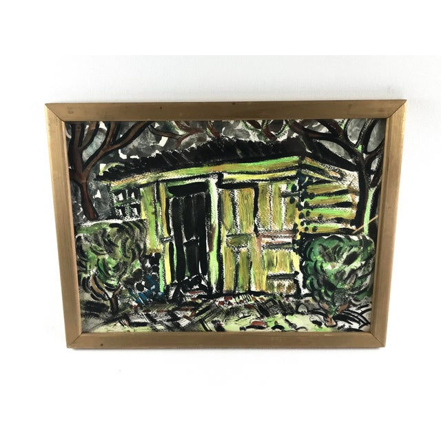 """1996 Small English Abstract """"Green House"""" Framed Painting For Sale - Image 11 of 11"""