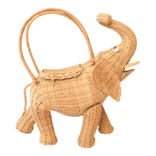 Vintage Wicker Figural Elephant Purse