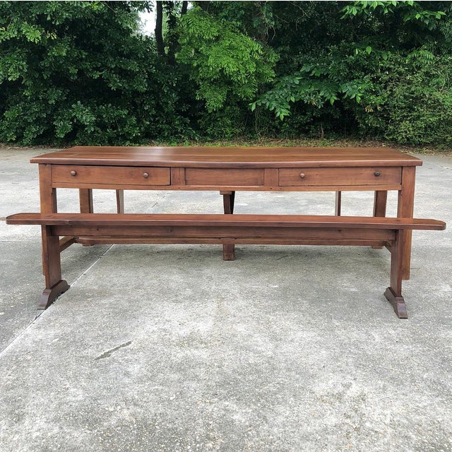 9th Century French Cherrywood Farm Table With Pair Benches For Sale - Image 11 of 13