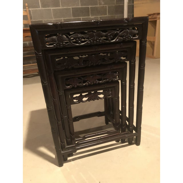 Asian Wooden Nesting Tables - Set of 4 For Sale - Image 12 of 13