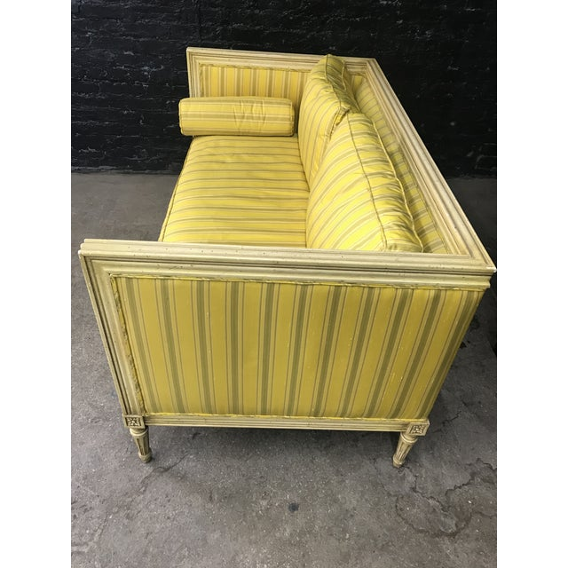 Bright Yellow & Green Stripe French Directoire Louis XVI Settee Loveseat For Sale - Image 4 of 13