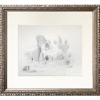 19th C Antique English Graphite Drawing of Landscape With Castle For Sale
