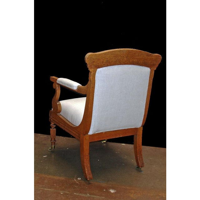 Mid 19th Century A William IV Oak Open Arm Chair For Sale - Image 5 of 6