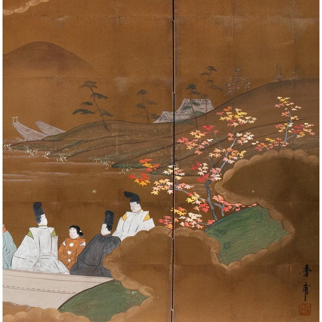 Gouache 1920s Japanese Four Panel Byobu Screen For Sale - Image 7 of 13