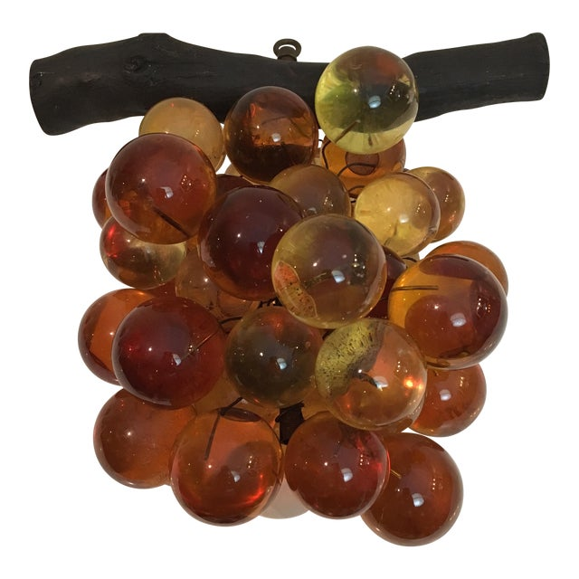 Oversized Vintage Lucite Amber Grapes For Sale