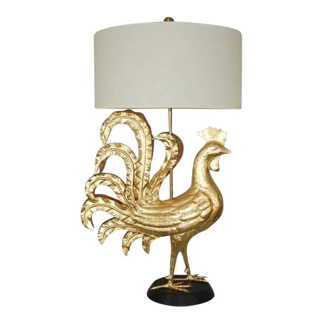 Marbro Italian Metal Rooster Table Lamp Gold For Sale