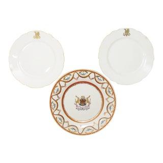 French Gilt Monogrammed & Heraldry Plates, S/3